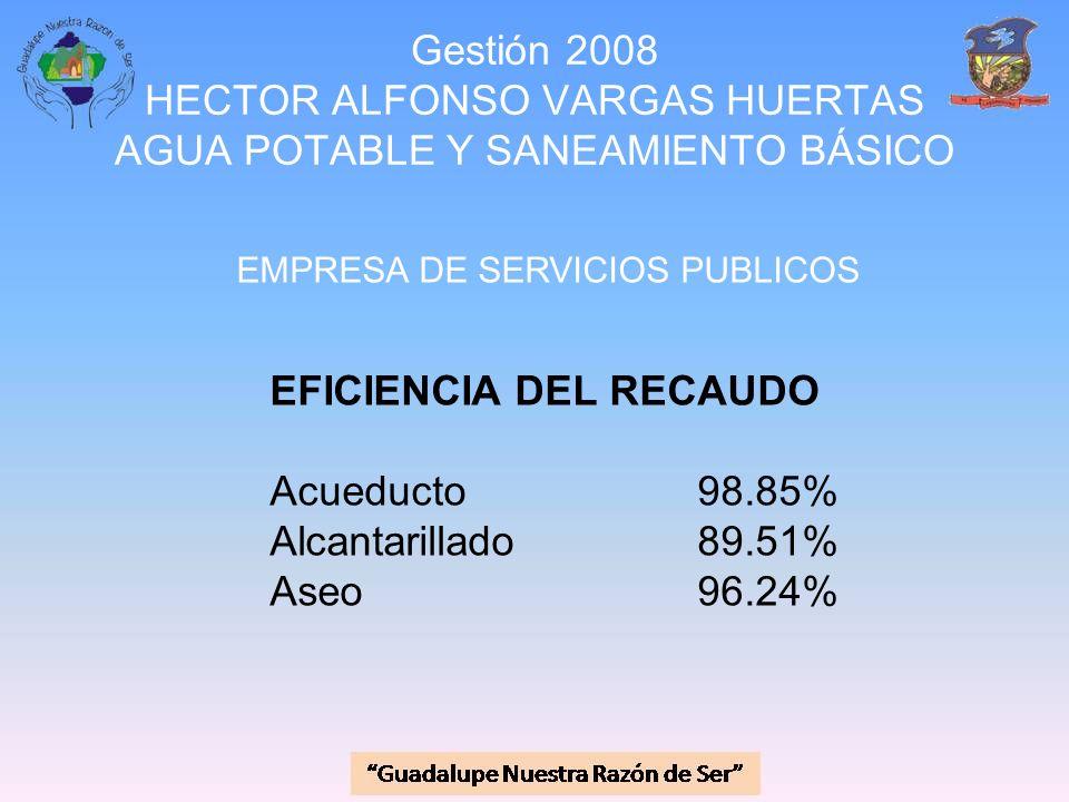 EFICIENCIA DEL RECAUDO Acueducto 98.85% Alcantarillado 89.51%