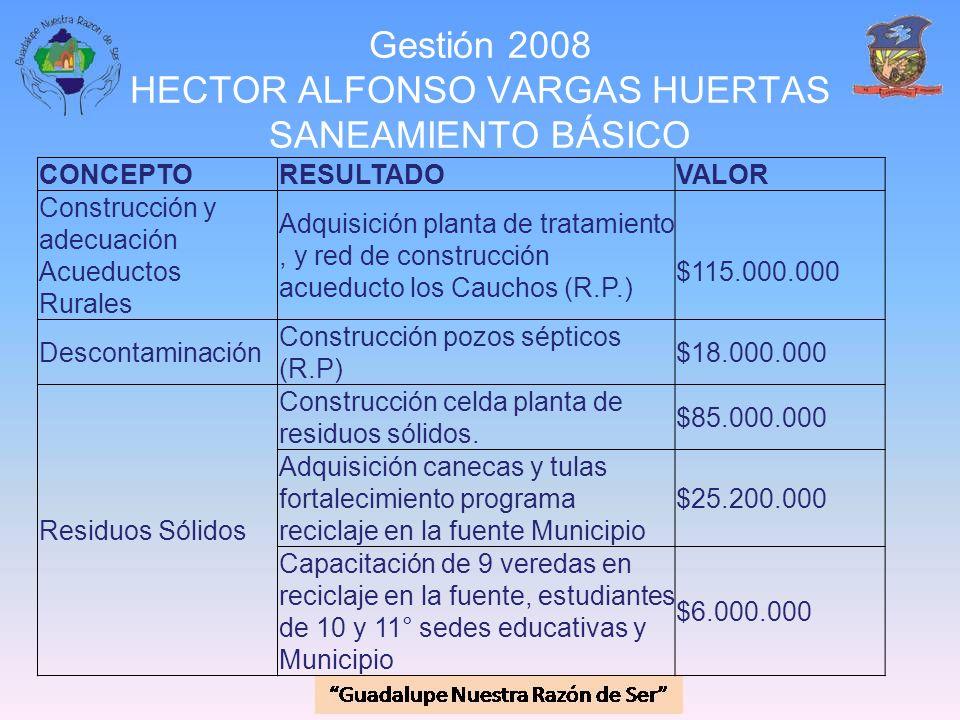 Gestión 2008 HECTOR ALFONSO VARGAS HUERTAS SANEAMIENTO BÁSICO