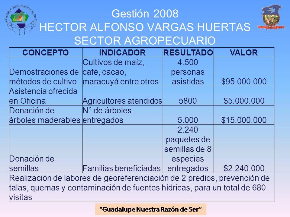 Gestión 2008 HECTOR ALFONSO VARGAS HUERTAS SECTOR AGROPECUARIO