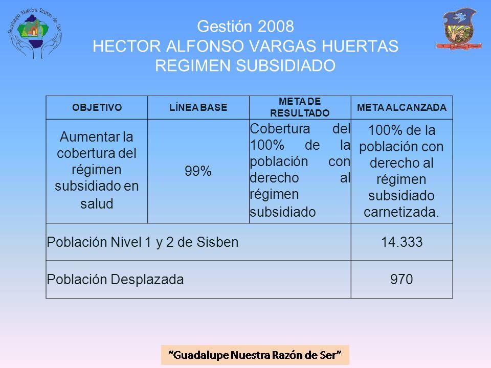 Gestión 2008 HECTOR ALFONSO VARGAS HUERTAS REGIMEN SUBSIDIADO