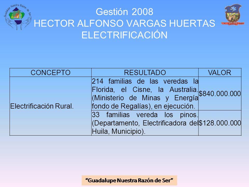Gestión 2008 HECTOR ALFONSO VARGAS HUERTAS ELECTRIFICACIÓN