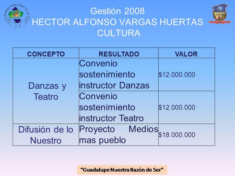Gestión 2008 HECTOR ALFONSO VARGAS HUERTAS CULTURA