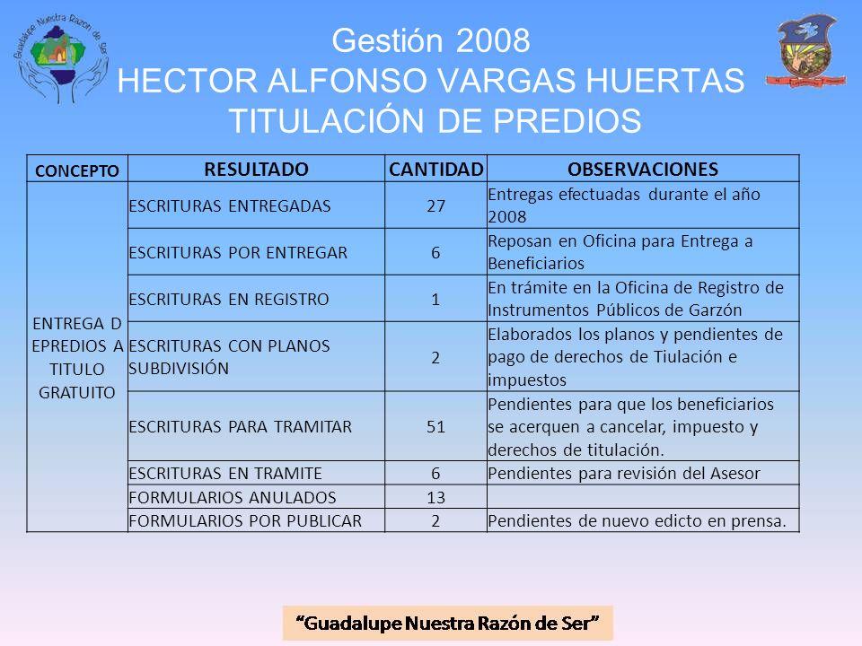 Gestión 2008 HECTOR ALFONSO VARGAS HUERTAS TITULACIÓN DE PREDIOS