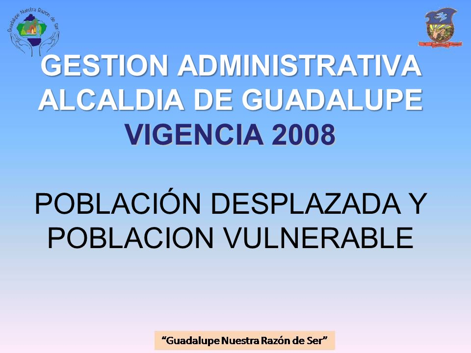 GESTION ADMINISTRATIVA ALCALDIA DE GUADALUPE VIGENCIA 2008 POBLACIÓN DESPLAZADA Y POBLACION VULNERABLE