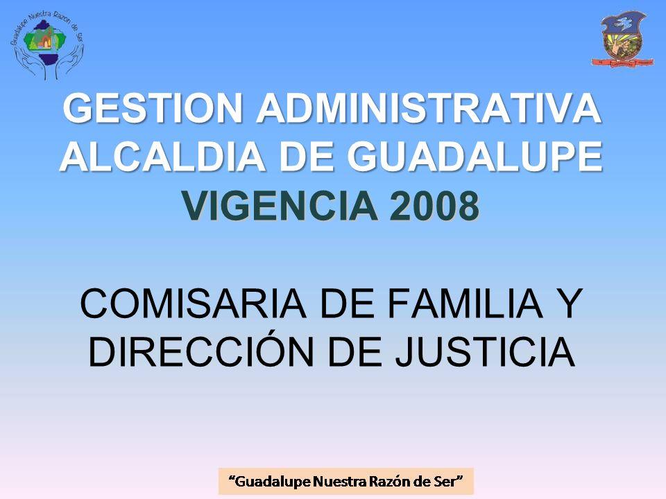 GESTION ADMINISTRATIVA ALCALDIA DE GUADALUPE VIGENCIA 2008 COMISARIA DE FAMILIA Y DIRECCIÓN DE JUSTICIA