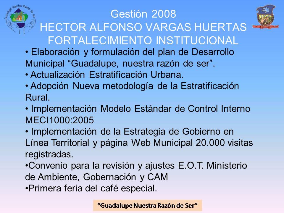 Gestión 2008 HECTOR ALFONSO VARGAS HUERTAS FORTALECIMIENTO INSTITUCIONAL