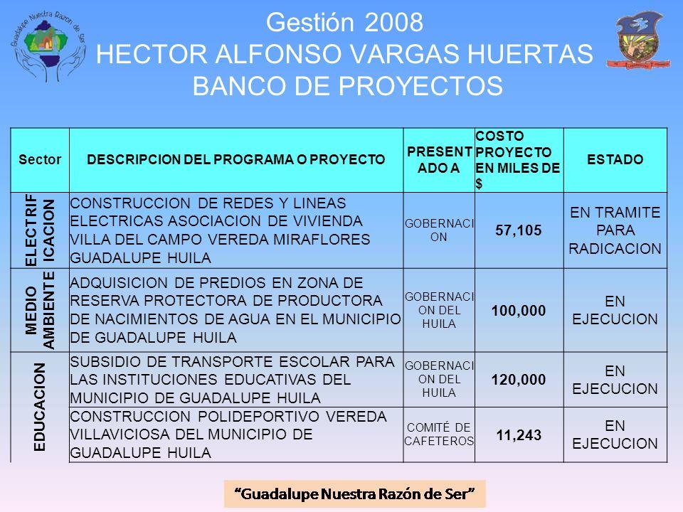Gestión 2008 HECTOR ALFONSO VARGAS HUERTAS BANCO DE PROYECTOS