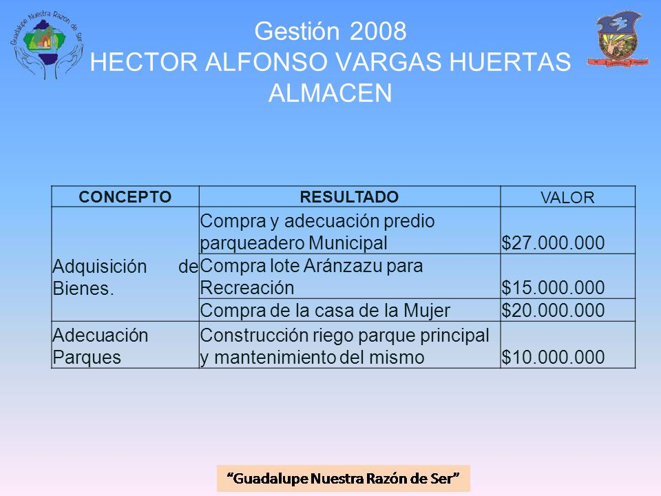 Gestión 2008 HECTOR ALFONSO VARGAS HUERTAS ALMACEN