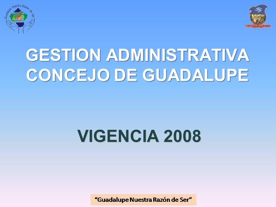 GESTION ADMINISTRATIVA CONCEJO DE GUADALUPE VIGENCIA 2008