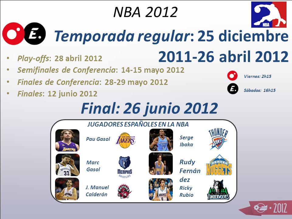 Temporada regular: 25 diciembre 2011-26 abril 2012