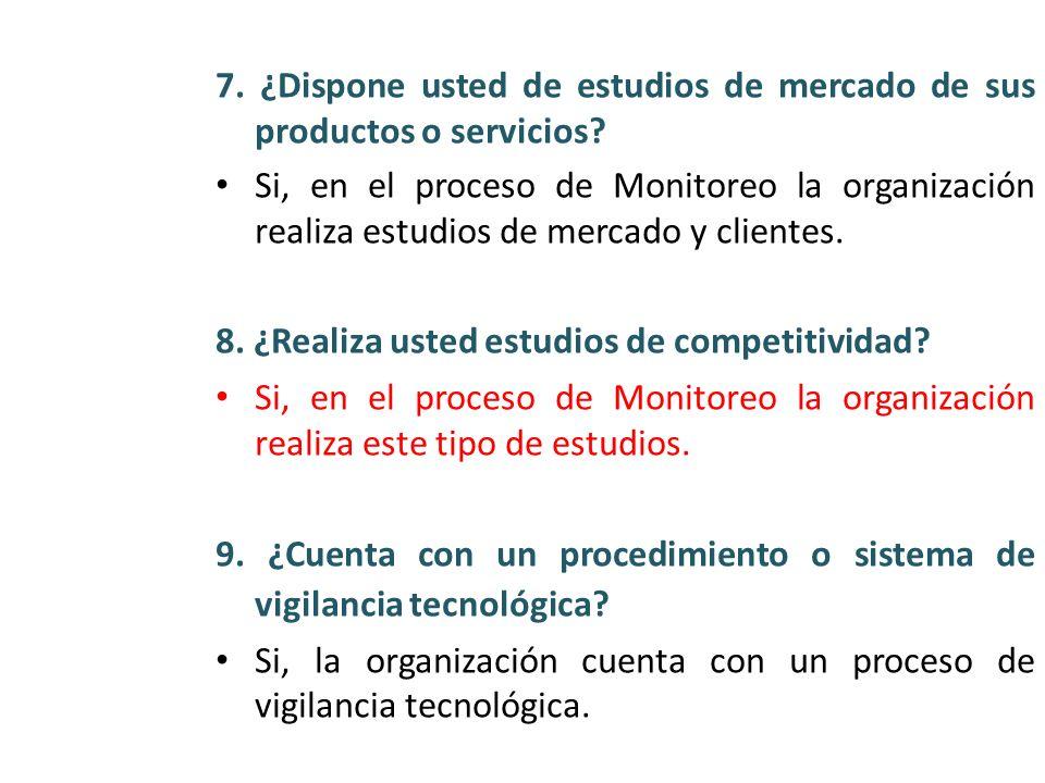 7. ¿Dispone usted de estudios de mercado de sus productos o servicios