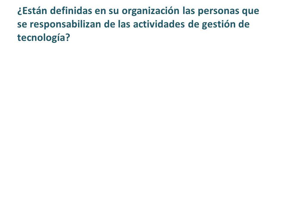 ¿Están definidas en su organización las personas que se responsabilizan de las actividades de gestión de tecnología