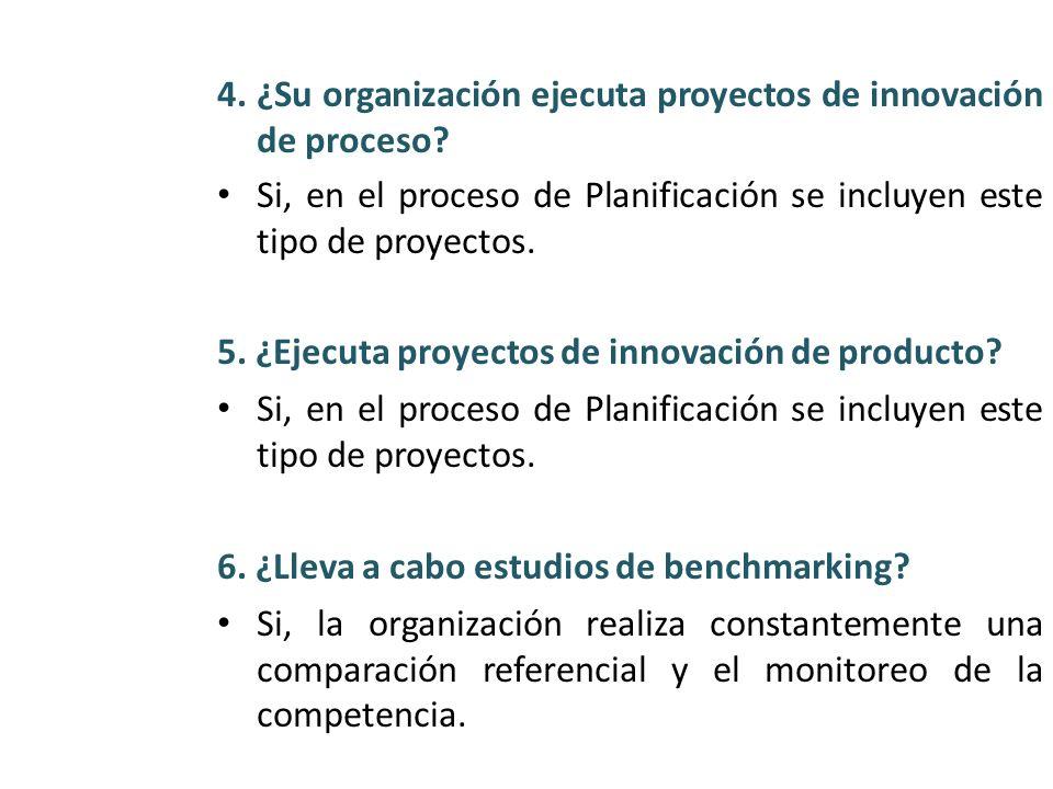 4. ¿Su organización ejecuta proyectos de innovación de proceso