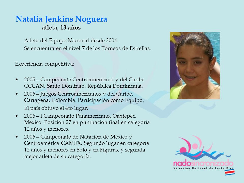 Natalia Jenkins Noguera atleta, 13 años