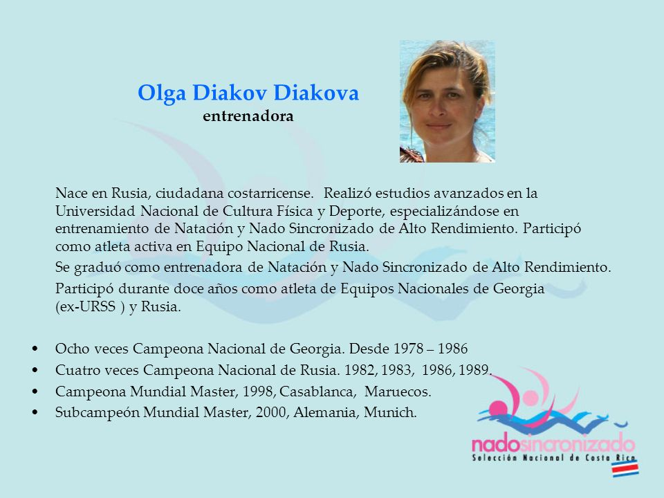 Olga Diakov Diakova entrenadora