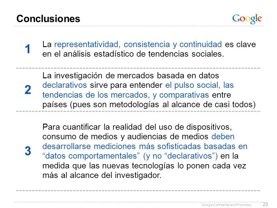 Conclusiones 1. La representatividad, consistencia y continuidad es clave en el análisis estadístico de tendencias sociales.