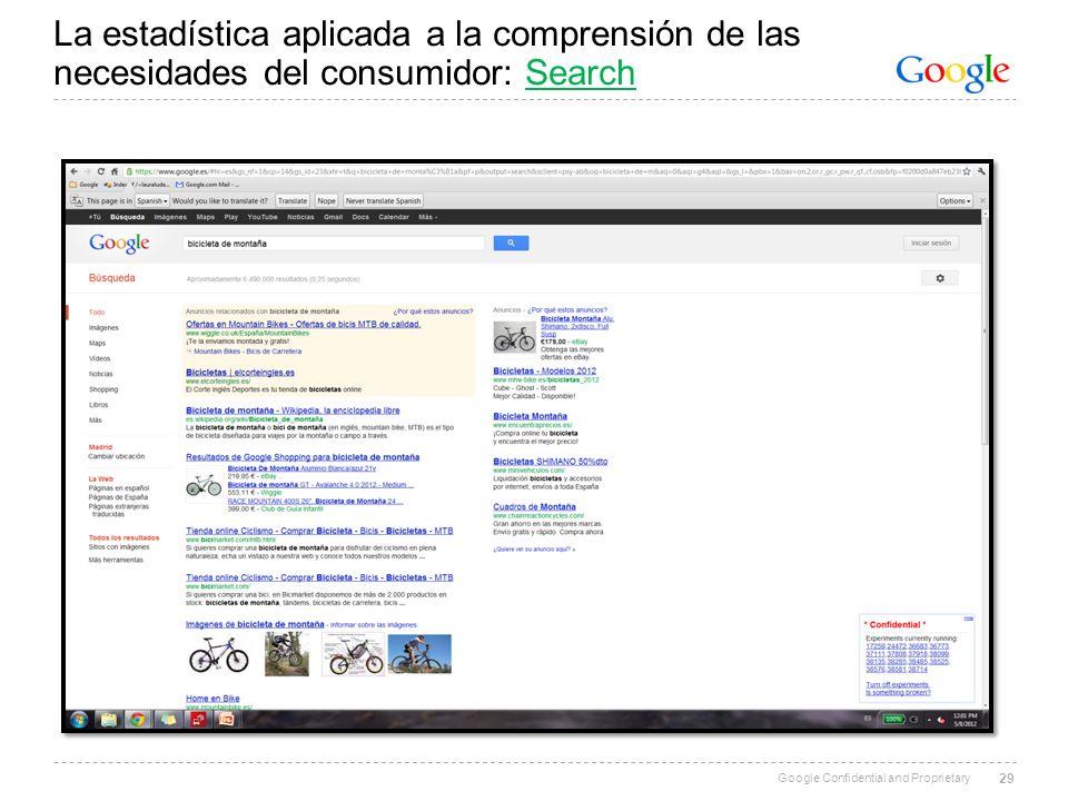 La estadística aplicada a la comprensión de las necesidades del consumidor: Search
