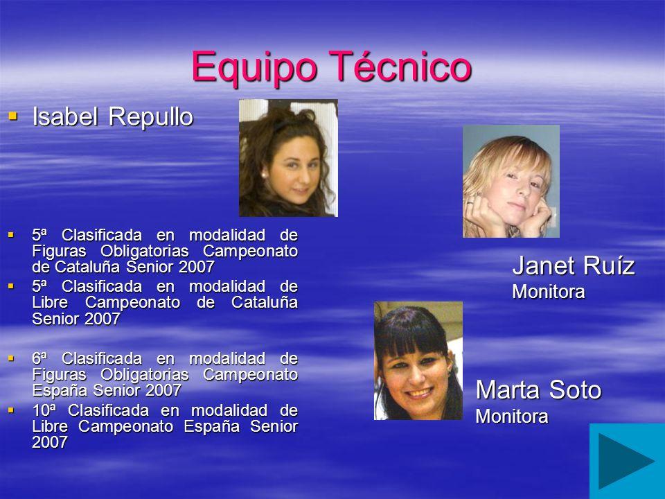 Equipo Técnico Isabel Repullo Janet Ruíz Marta Soto Monitora Monitora