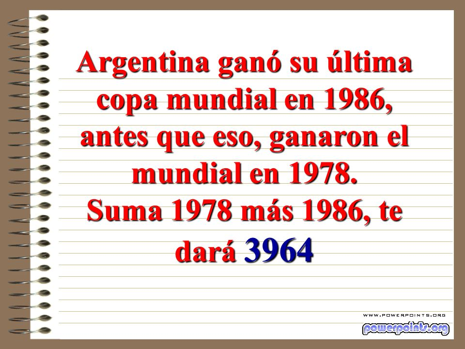 Argentina ganó su última copa mundial en 1986,