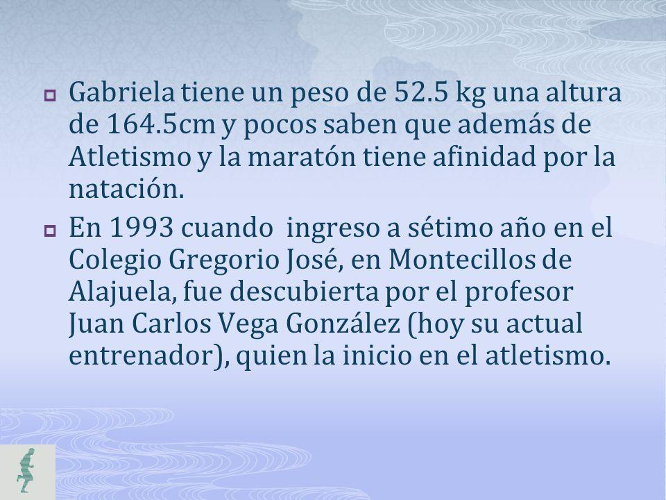 Gabriela tiene un peso de 52. 5 kg una altura de 164