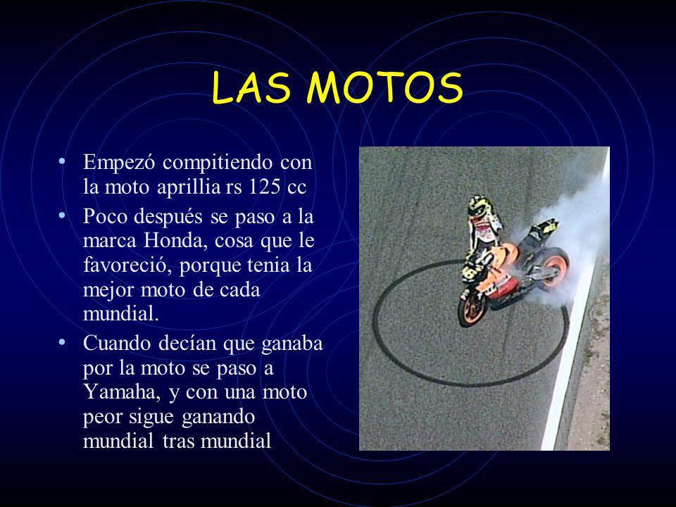 LAS MOTOS Empezó compitiendo con la moto aprillia rs 125 cc