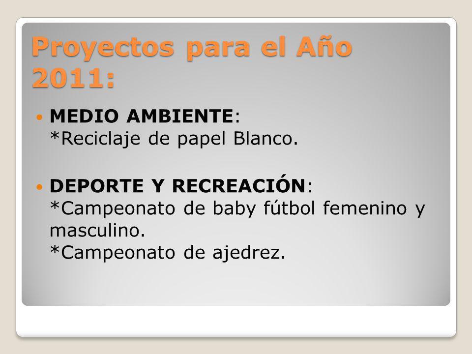 Proyectos para el Año 2011: MEDIO AMBIENTE: *Reciclaje de papel Blanco.