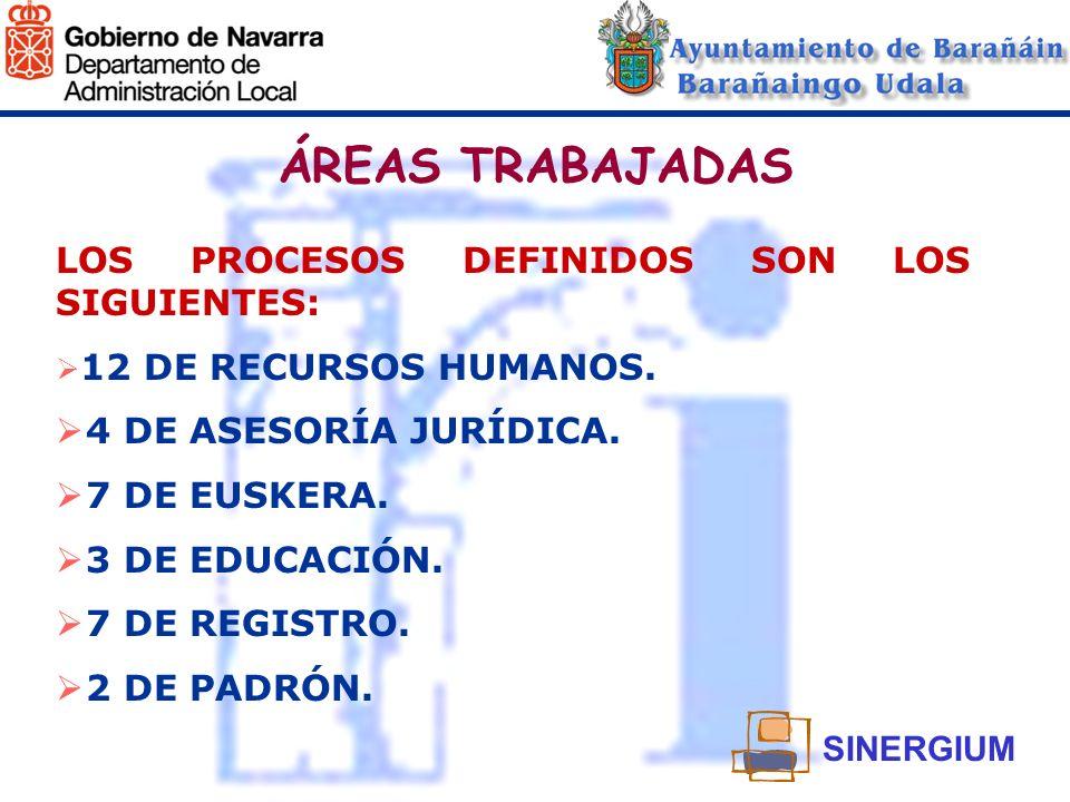 ÁREAS TRABAJADAS LOS PROCESOS DEFINIDOS SON LOS SIGUIENTES: