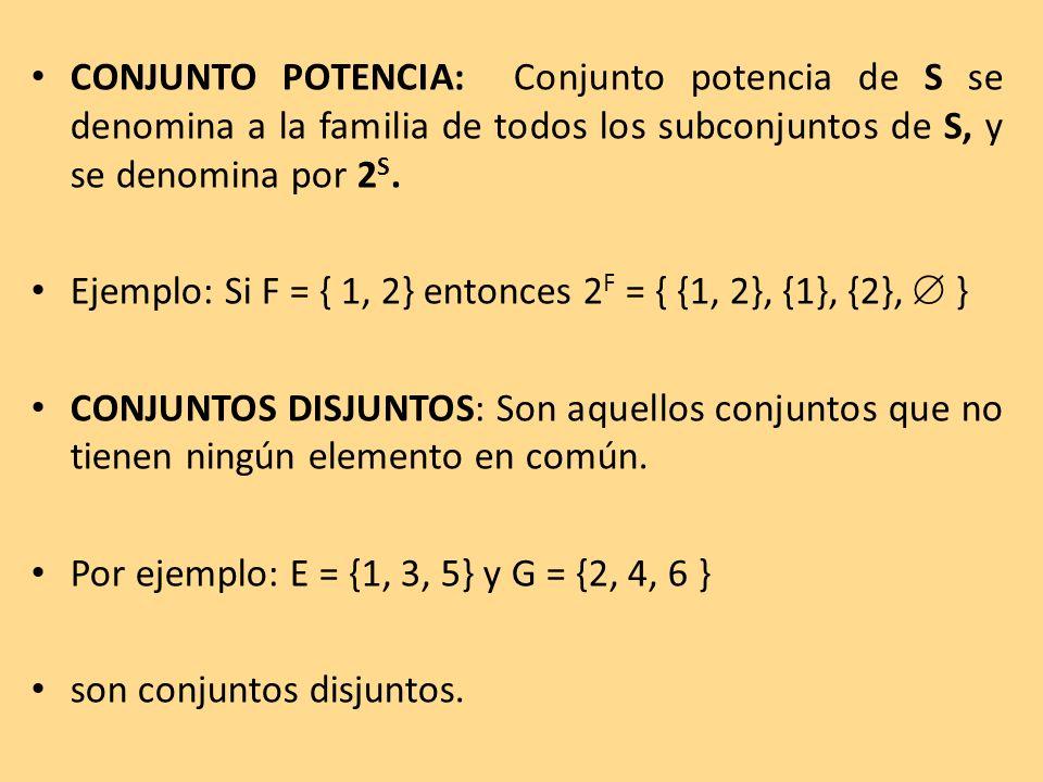 CONJUNTO POTENCIA: Conjunto potencia de S se denomina a la familia de todos los subconjuntos de S, y se denomina por 2S.