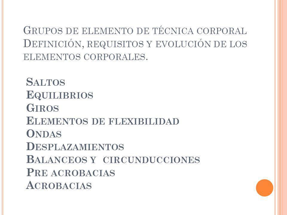 Grupos de elemento de técnica corporal Definición, requisitos y evolución de los elementos corporales.