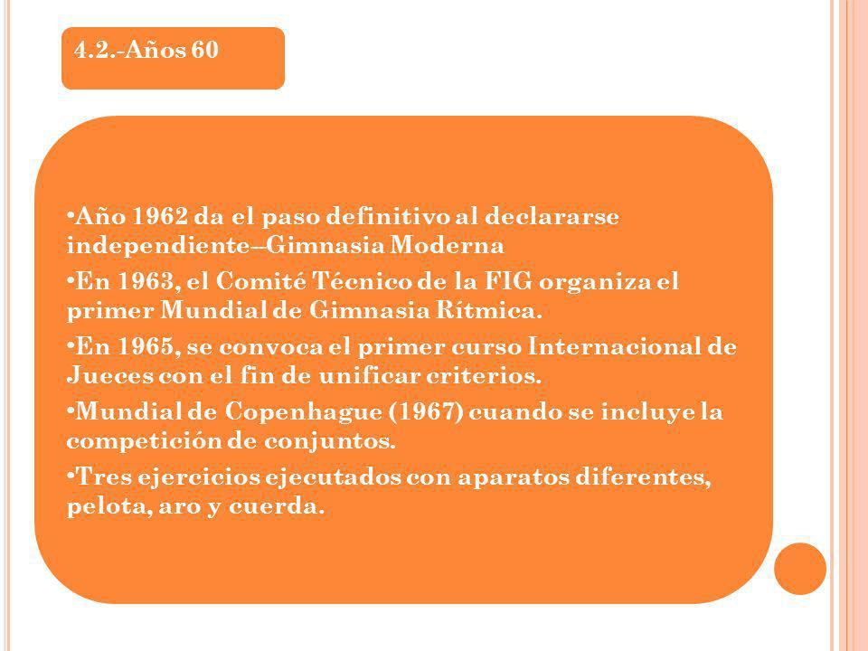 4.2.-Años 60 Año 1962 da el paso definitivo al declararse independiente--Gimnasia Moderna.