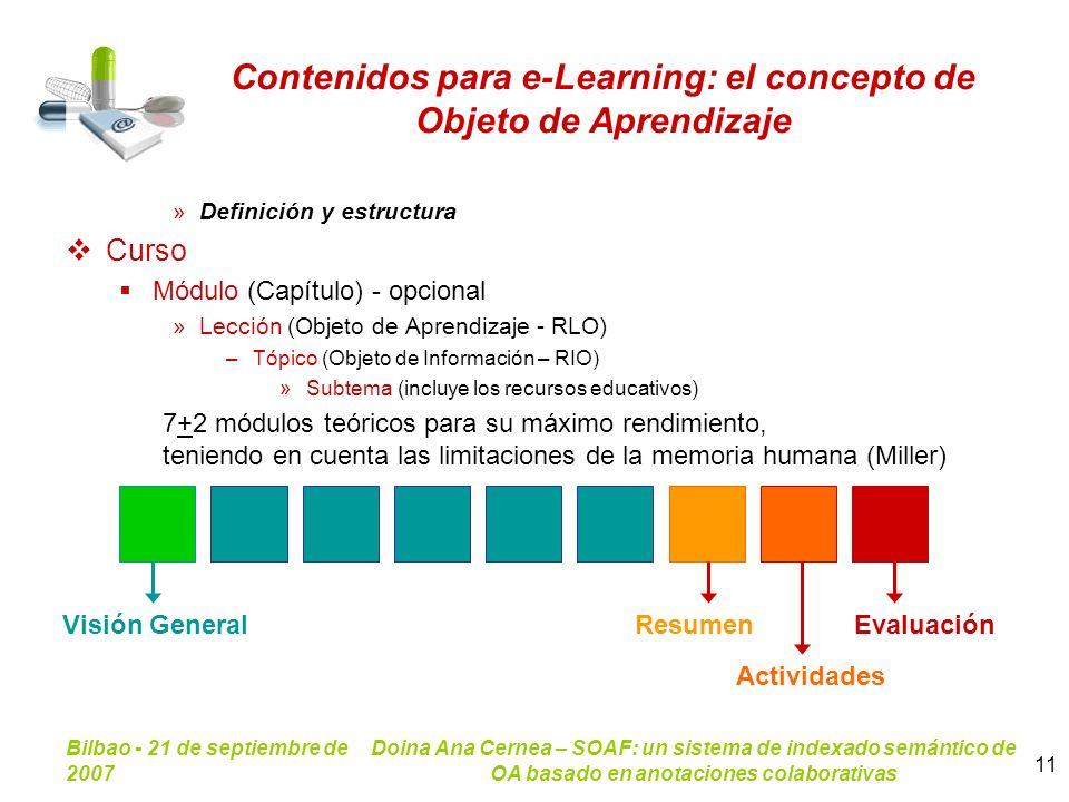 Contenidos para e-Learning: el concepto de Objeto de Aprendizaje