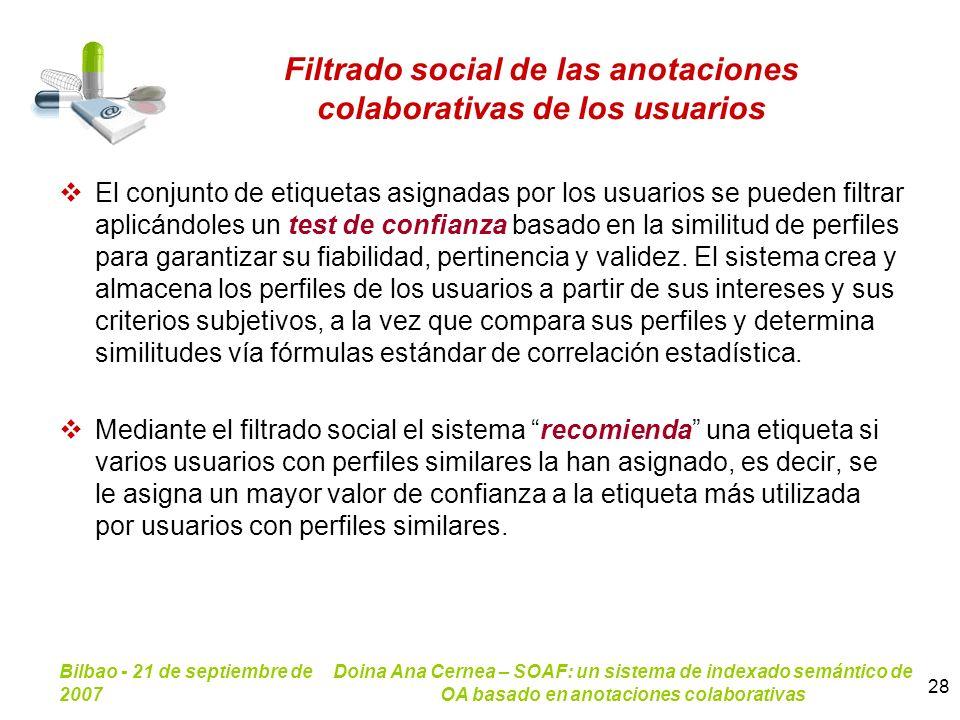Filtrado social de las anotaciones colaborativas de los usuarios