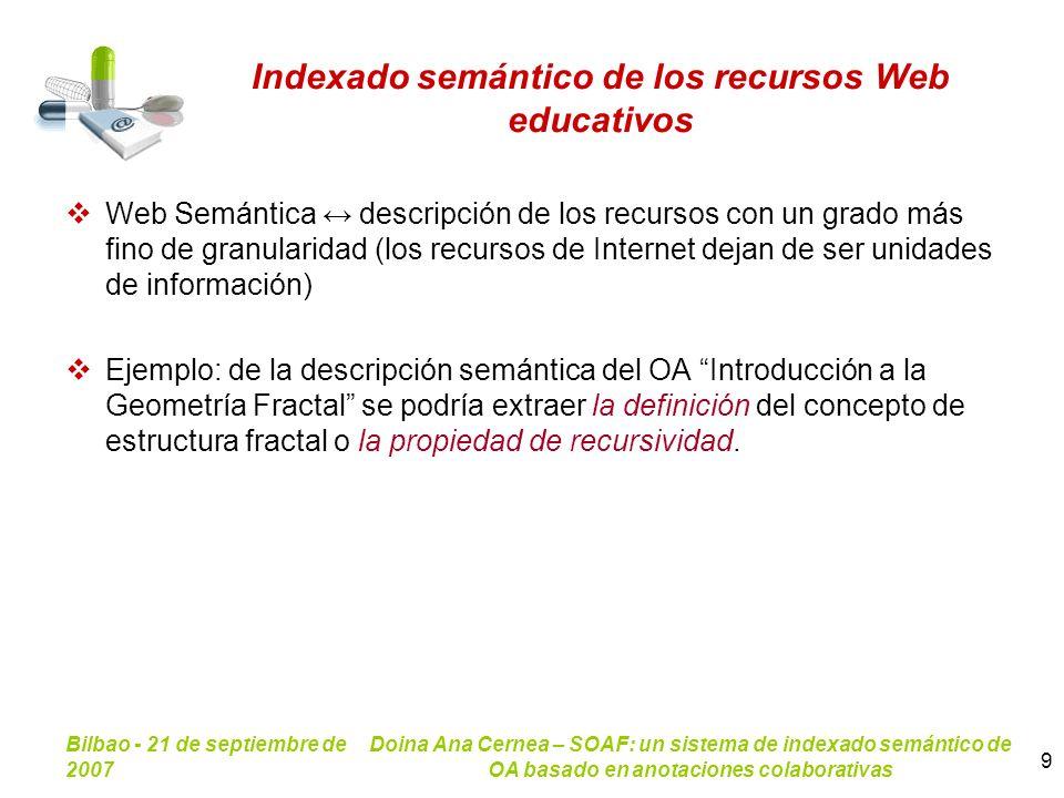 Indexado semántico de los recursos Web educativos