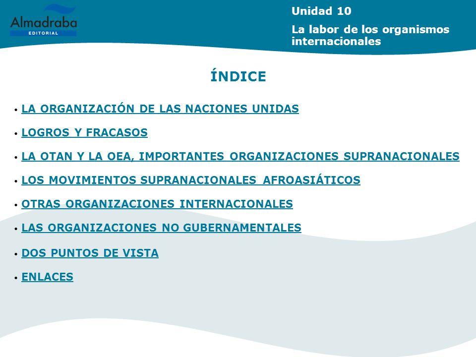 ÍNDICE Unidad 10 La labor de los organismos internacionales