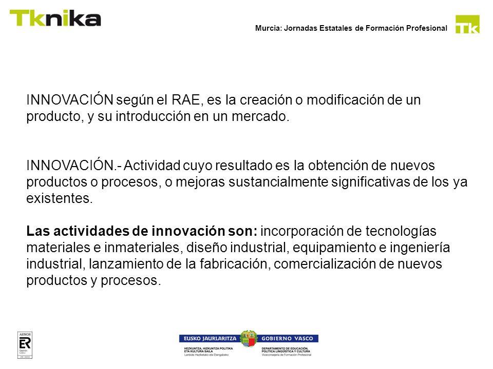 INNOVACIÓN según el RAE, es la creación o modificación de un producto, y su introducción en un mercado.