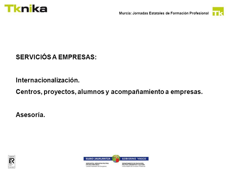 SERVICIÓS A EMPRESAS: Internacionalización. Centros, proyectos, alumnos y acompañamiento a empresas.