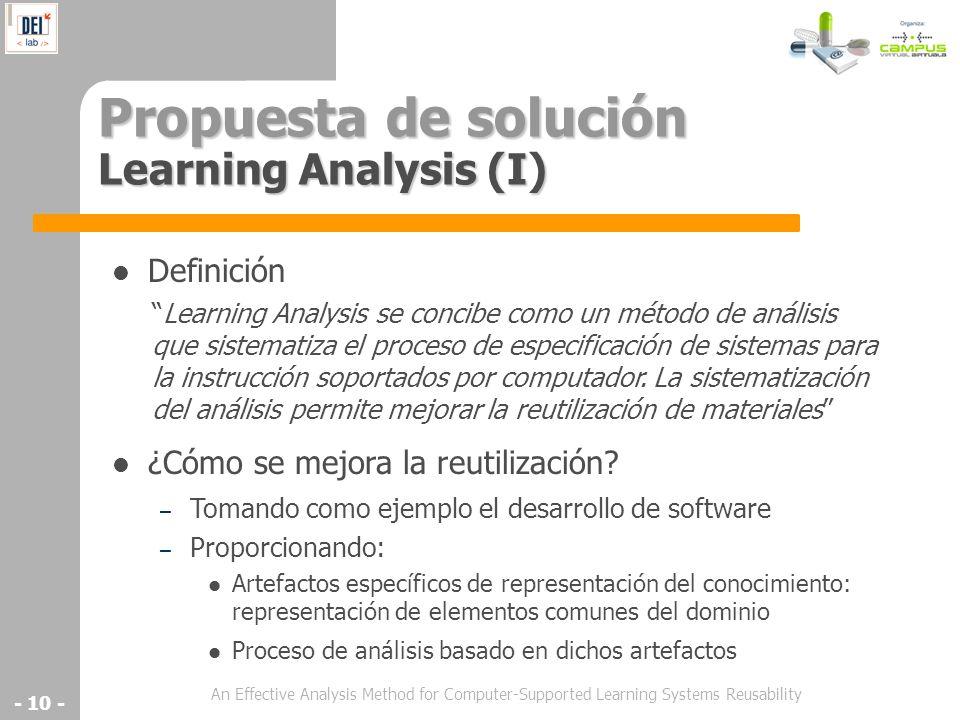Propuesta de solución Learning Analysis (I)