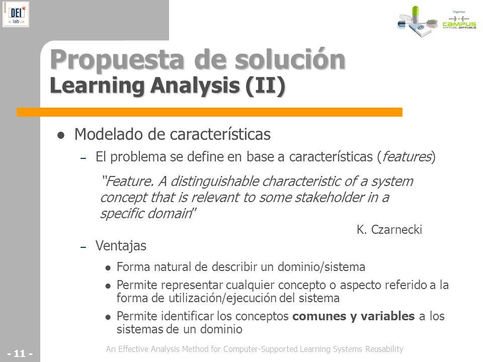 Propuesta de solución Learning Analysis (II)