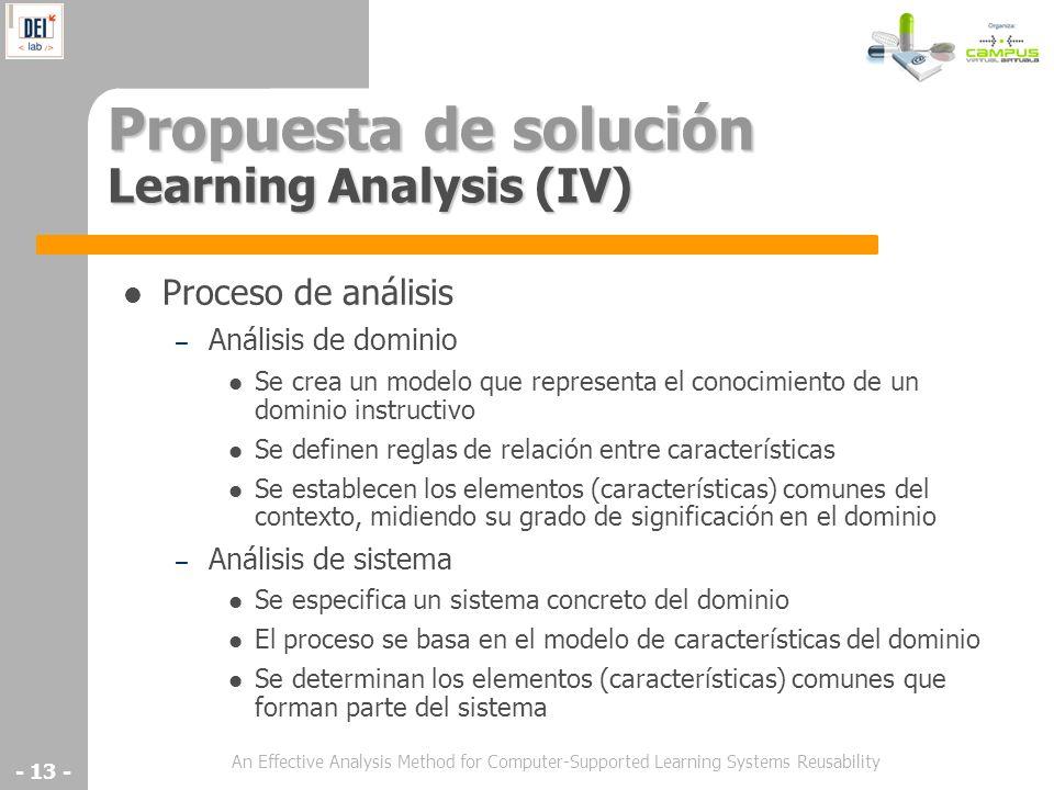 Propuesta de solución Learning Analysis (IV)