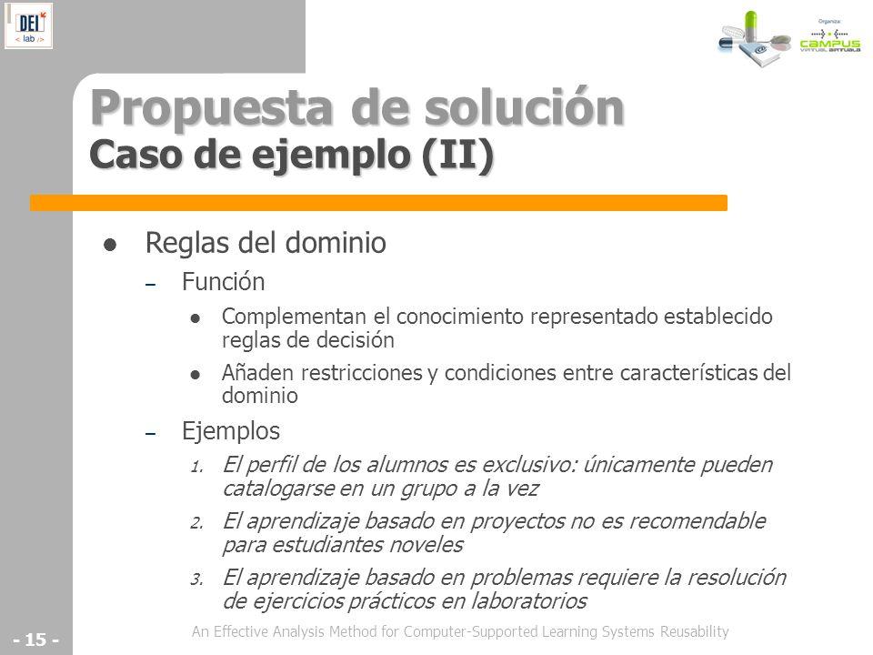 Propuesta de solución Caso de ejemplo (II)