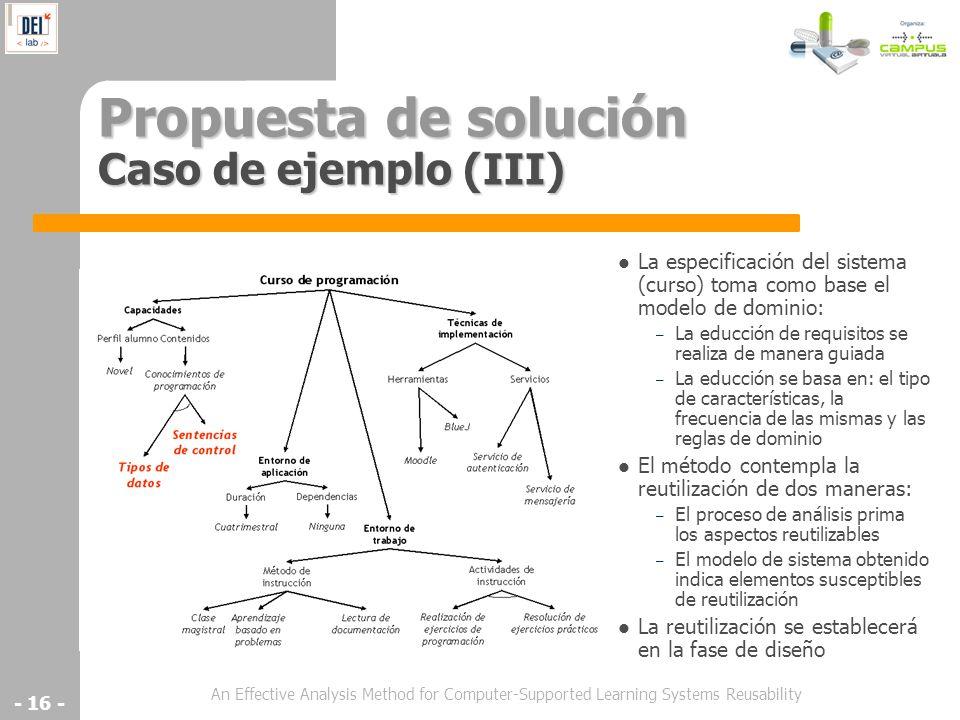 Propuesta de solución Caso de ejemplo (III)