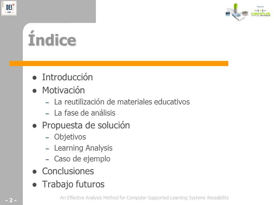 Índice Introducción Motivación Propuesta de solución Conclusiones