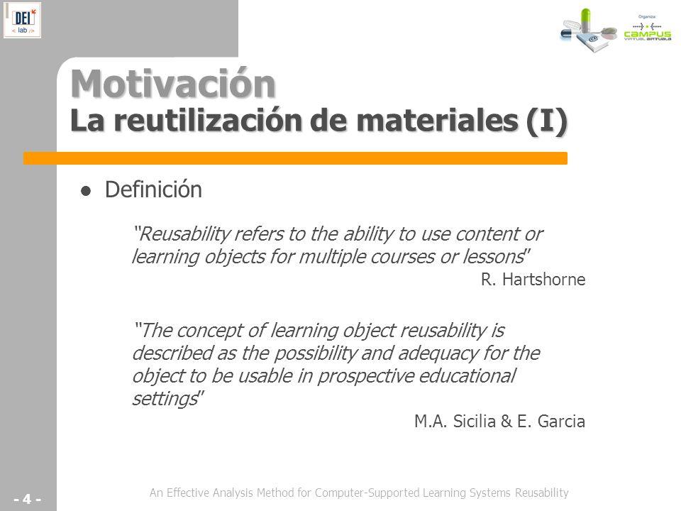 Motivación La reutilización de materiales (I)