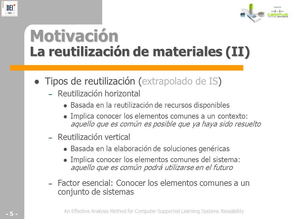 Motivación La reutilización de materiales (II)