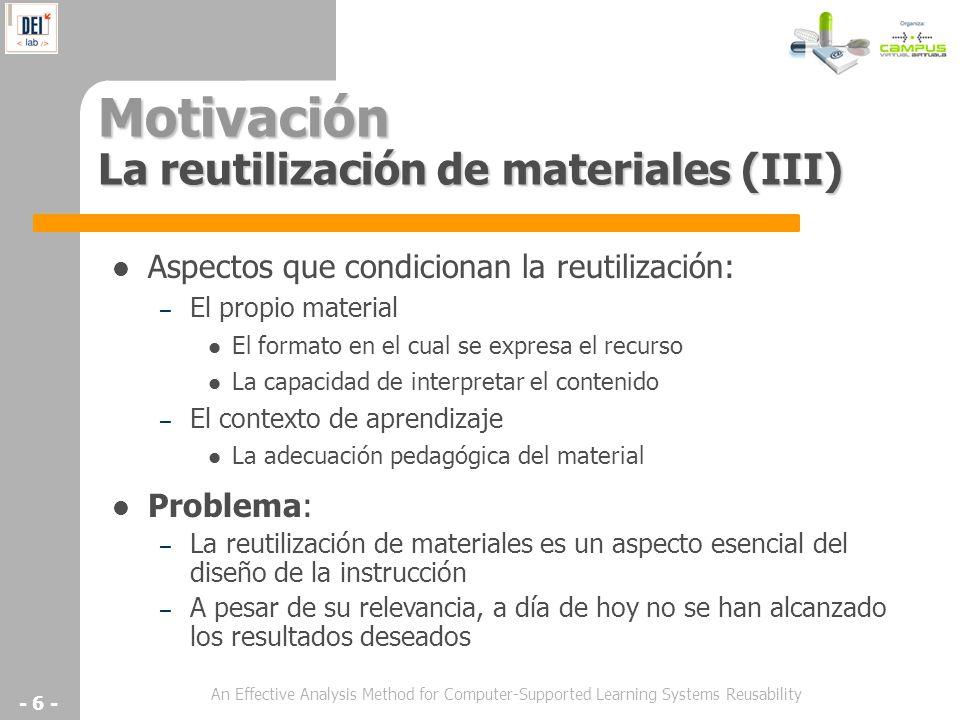 Motivación La reutilización de materiales (III)