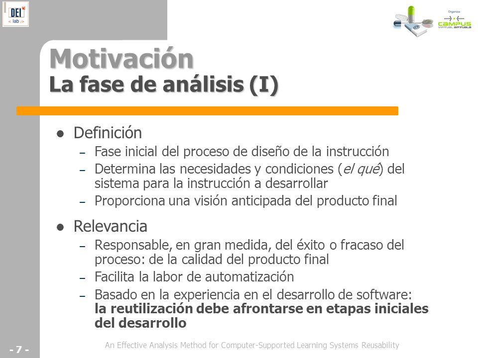 Motivación La fase de análisis (I)