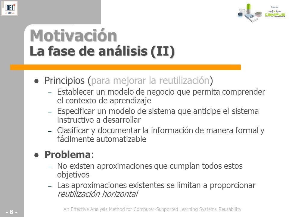 Motivación La fase de análisis (II)