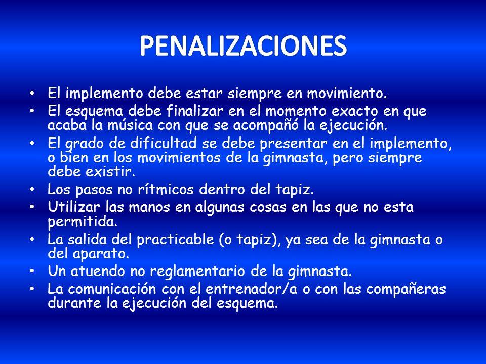 PENALIZACIONES El implemento debe estar siempre en movimiento.