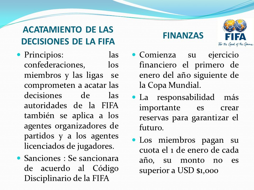 ACATAMIENTO DE LAS DECISIONES DE LA FIFA
