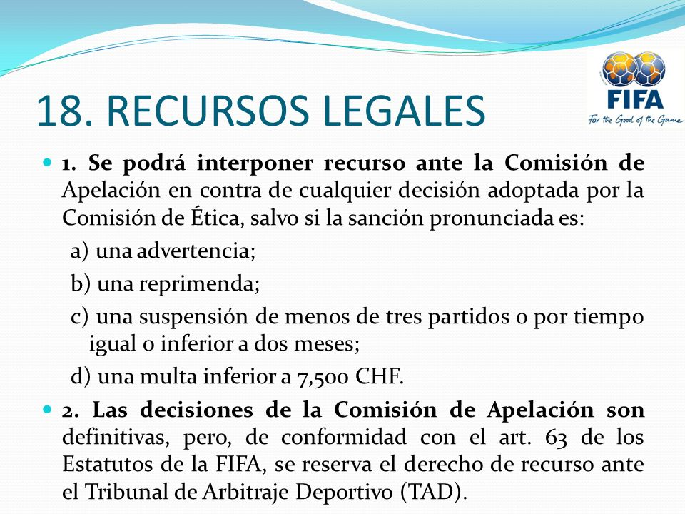 18. RECURSOS LEGALES